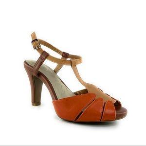 Giani Bernini Leather Peep Toe Sandal Heels